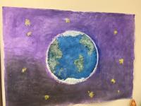 """День планеты -коллективная работа """"Наша планета"""" (техника нетрадиционного рисования солью"""